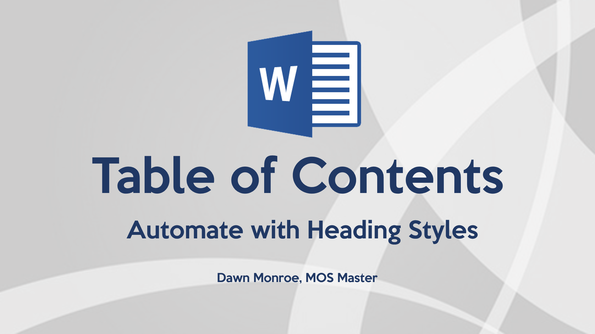 Word Auto Table of Contents