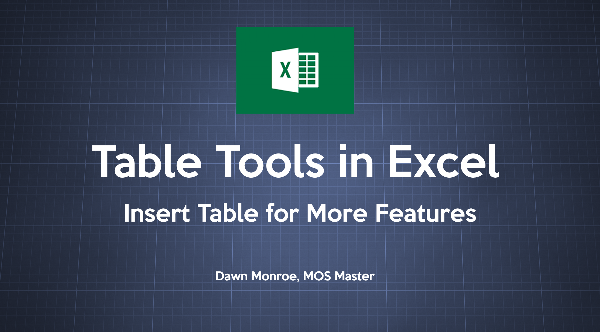 Table Tools Excel