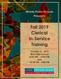 Fall 2019 Clerical In-Service Training Flyer October 21