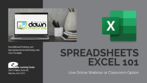 Spreadsheets 101 @ Live Online Zoom or Dawn Monroe Training
